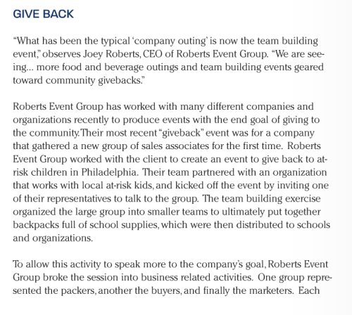 Mid-Atlantic Event Magazine Article: Joey Roberts: Joey Roberts Mid-Atlantic Magazine Article: Roberts Event Group: Team Building
