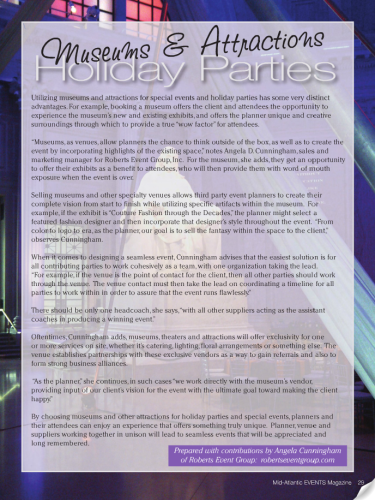 Mid-Atlantic Events Magazine: Mid-Atlantic Events Magazine Cover: Roberts Event Group Published in Mid-Atlantic Events Magazine: Events Magazine: September/October 2012 Mid-Atlantic Events Magazine: Roberts Event Group Article: Roberts Event Group Published: Event Planning Article