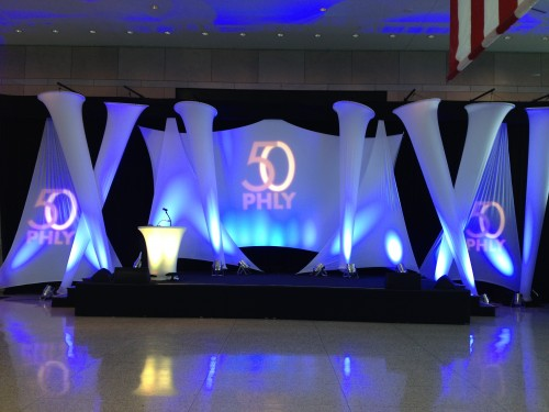 Stage: 50th Anniversary celebration: Blue Lights: Projections: Customized: Indoor: Venue: Large stage