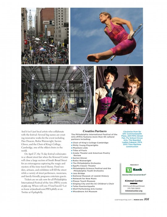 PIFA: PIFA 2013: PIFA Street Fiar: Philadelphia: Philadelphia street fair: Philadelphia International Festival of the Arts: Philadelphia Event: Roberts Event Group: PIFA Article: PIFA Promotion: PIFA Entertainment: US Airways Magazine: US Airways PIFA: US Airways PIFA Article